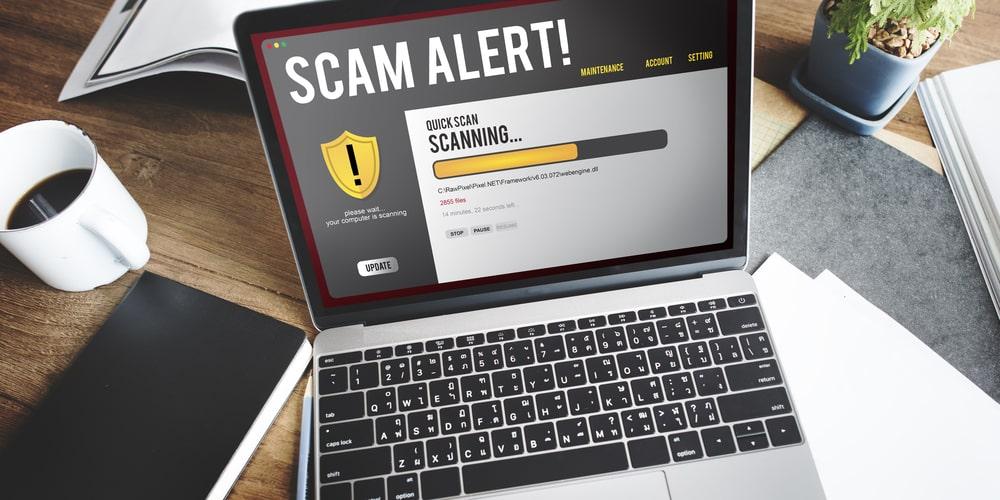 Scam alert on computer screen
