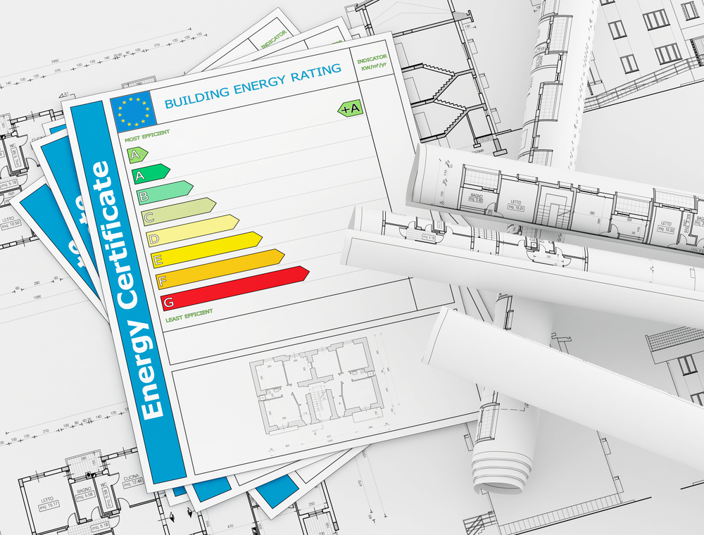 Energy efficiency paperwork and home blueprints