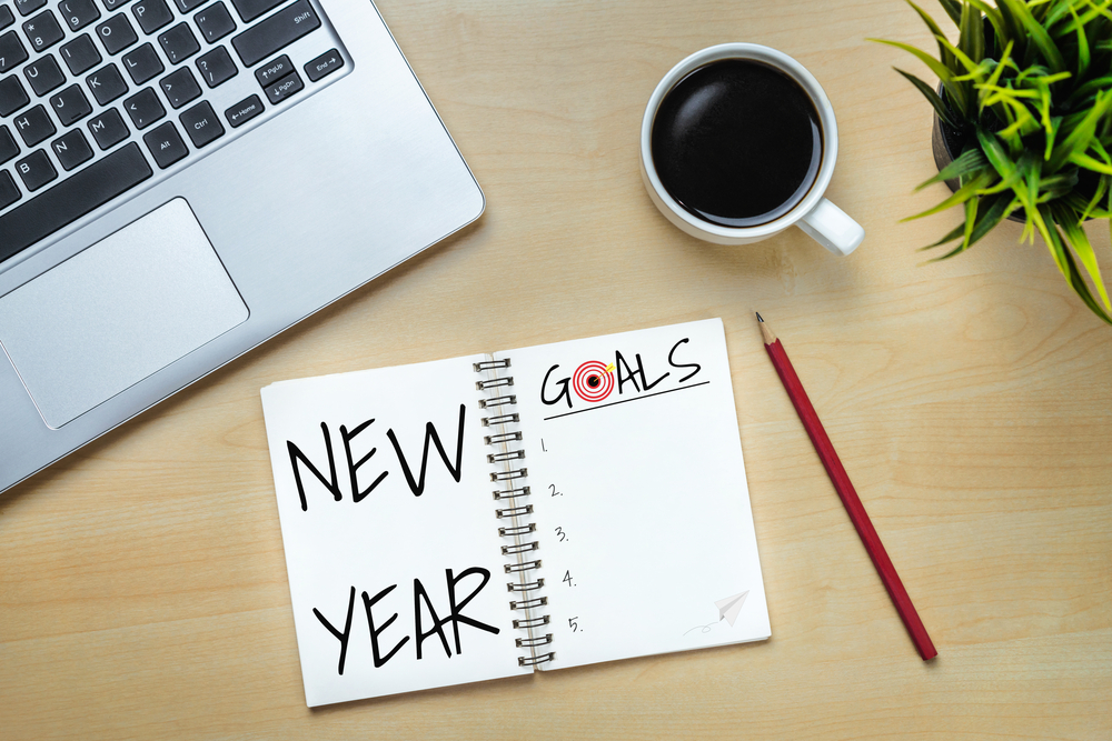 New Year's goals list in notebook