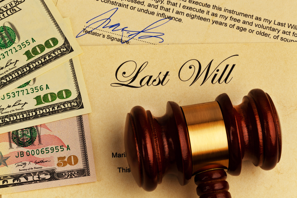 Last will with cash and judge's gavel