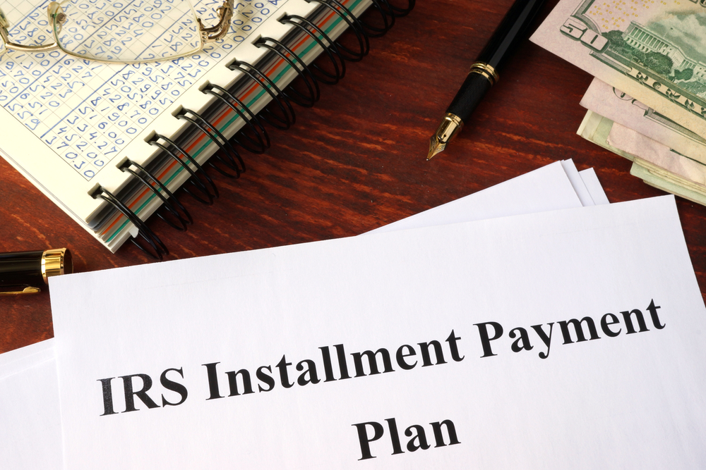 IRS payment plan paperwork and bills