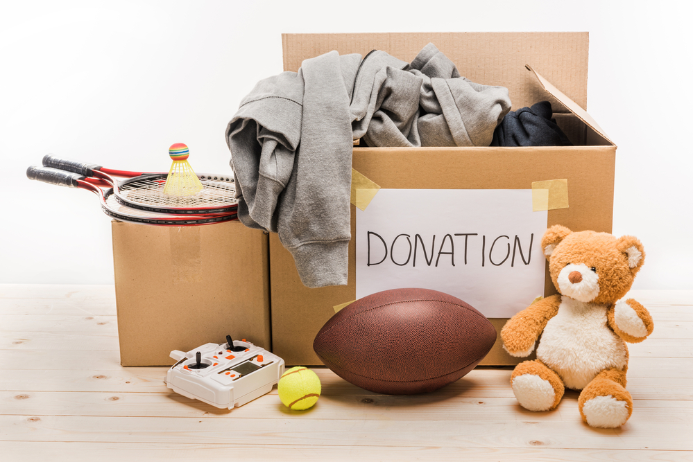 Cardboard box with donated items